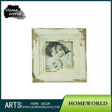 4*4 Shabby Chic White Glass Wood Funny Photo Frame