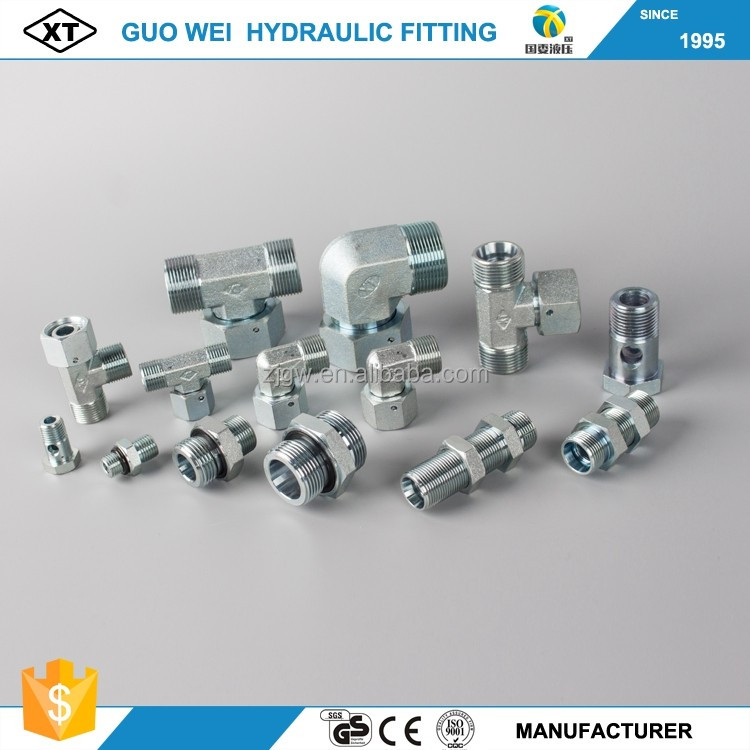 CNC manufacture carbon steel zinc plated hydraulic fittings