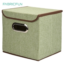 Collapsible Decoration Folding Linen Polyester Jute Fabric Storage Cube Basket Bin Drawer Organizer Box with Lid