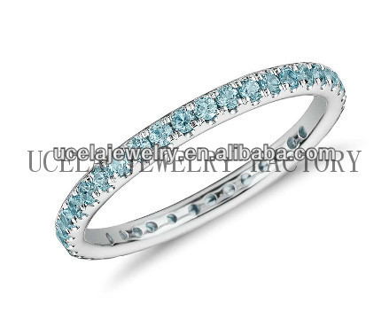 Aquamarine Eternity Ring fashion 14k gold ring mountings wholesale