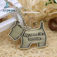 Cheap custom animal shaped die casting metal dog tag for wholesales
