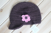 Baby Crochet Newsboy Hat - Brown Cotton cap - 3 to 24 Months Baby Caps Baby Hats Knitted Cotton