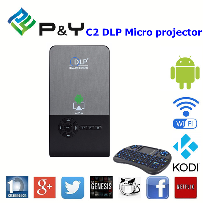 2016 Good price of DLP C2 RK3128 Micro projector 1g 8g home theater android tv box air mouse with great price KODI TV BOX