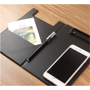 High quality black hard pu leather menu holders