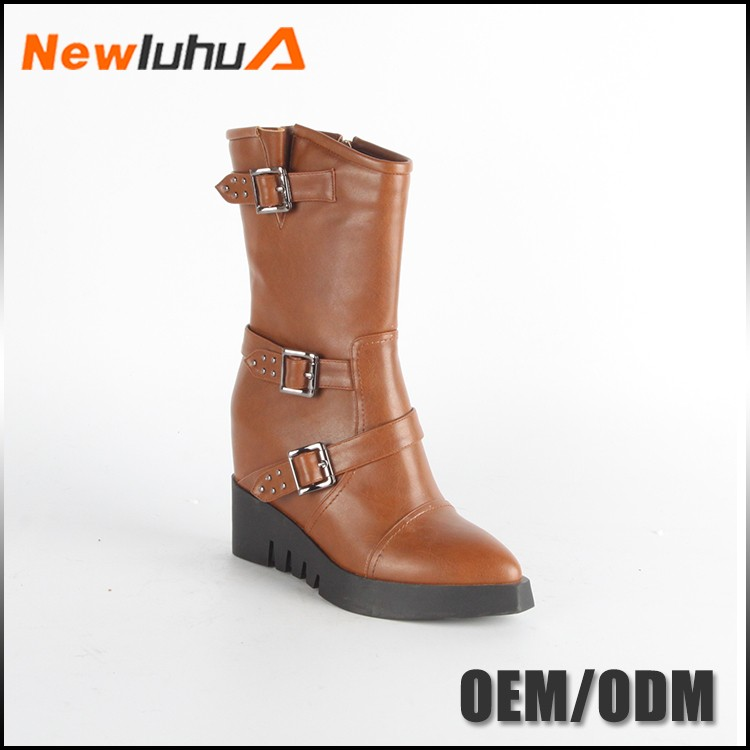 Cheap wholesale wedge leather fashon boots for women