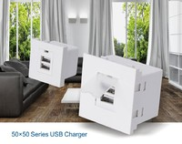 white color AC Power Adapter Socket Receptacle With 2 Port USB Wall Outlet Charger Plate