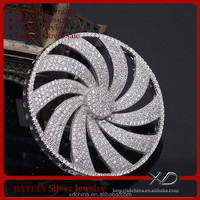 XD P887 cz pave rotary round connector finding sterling silver jewellery