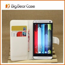 Factory wallet leather bumper case for htc one m7
