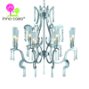 OEM Iron Crystal Glass Branch Chrome Indoor Chandelier Light