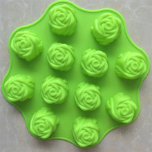 Mini 12-Cavity Silicone Rose Flower Shaped Baking Cups Muffin Pan, FDA grade Silicone Rose Shaped Baking Cups