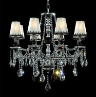 8 lights lamp chimney chandelier with crystal