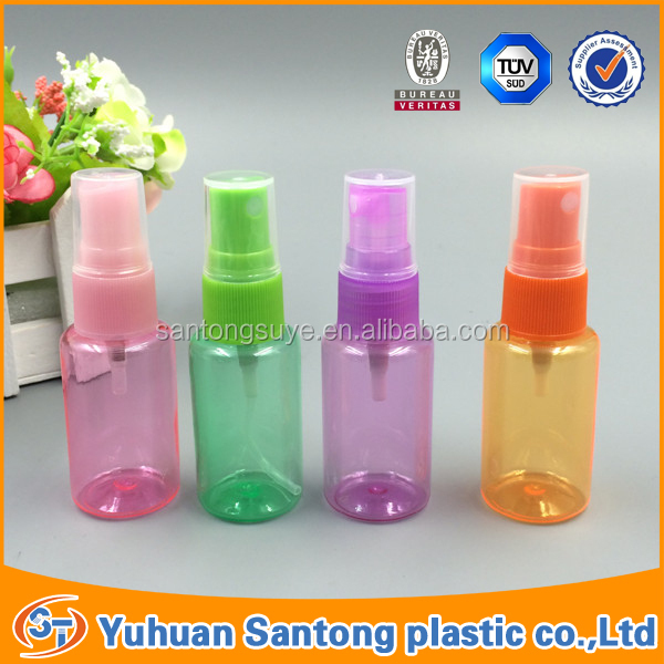 colorful plastic mini perfume spray bottle with pump sprayer