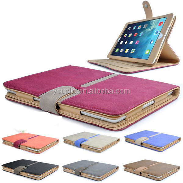 High Quality Suede Leather Smart Case,Tan Leather Case Cover For Ipad Air 2 with Sleep Wake