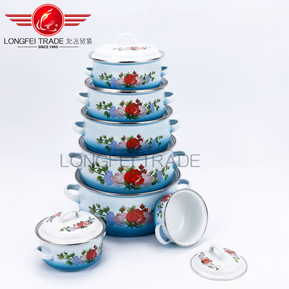 Eco-Friendly Pot With Full Flower Decal Wholesale Enamel Cookware