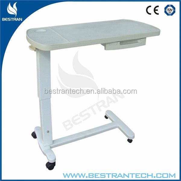 BT-AT009 Adjustable medical table hospital bed tray table with drawer
