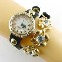 Black leather crystal diamond chains lady wrist women watch