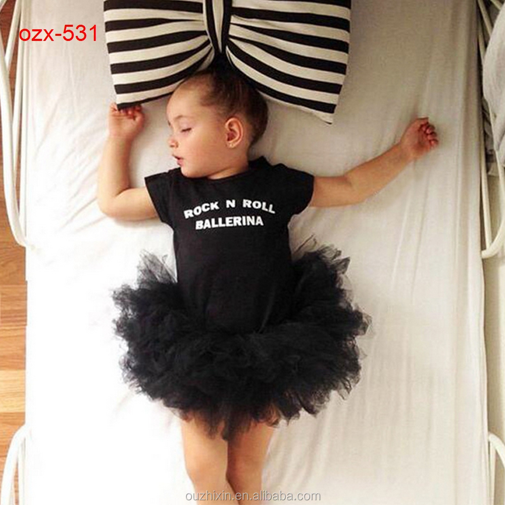 rock <strong>N</strong> roll kids baby girl plain black romper tutu bloomer