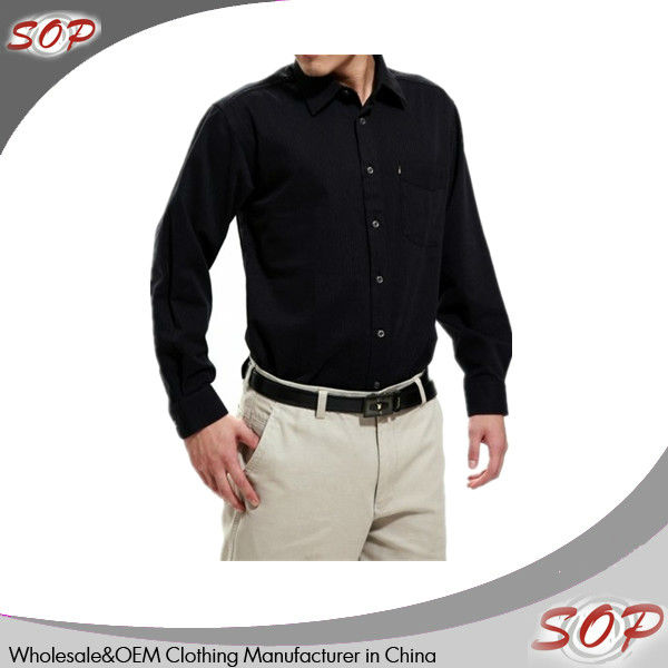 Luxury design solid black color long sleeve men shirt