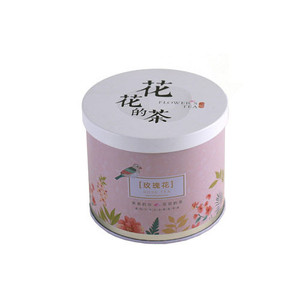 Round Flower tea / milk powder tin container can with double lids