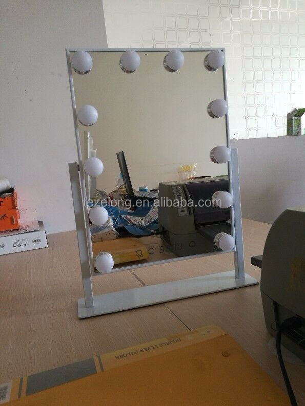 2017 newest hollywood lighted makeup mirror with led lights bulb mirror for beauty
