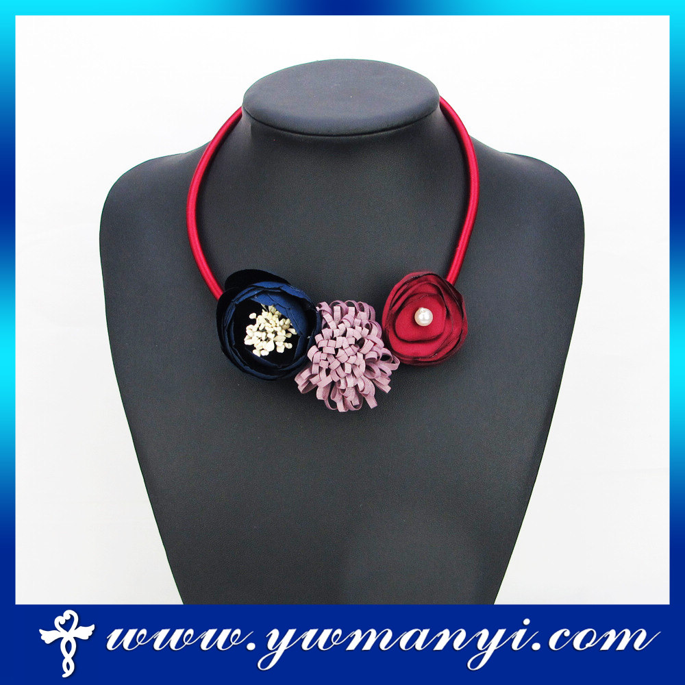 Fabric handmade flower choker pearl necklace fashion jewelry 2016