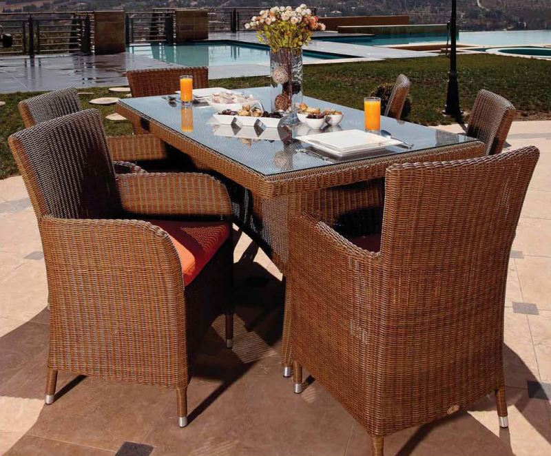 All Weather garden furniture natural stone table top