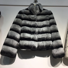New Rex Rabbit Fur Chinchilla Jacket Coat for Women Dyed Fur Garment