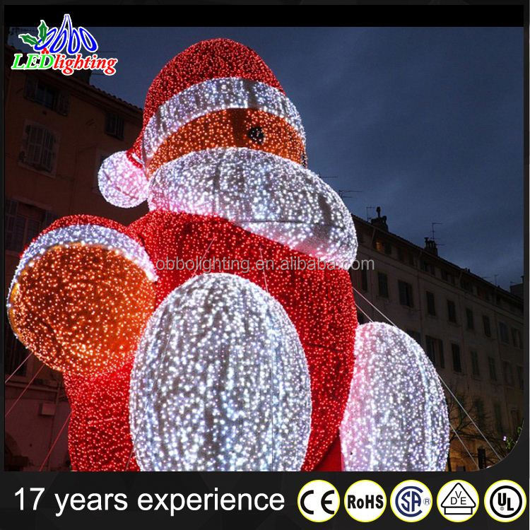 LED Rope Light Motif as Outdoor Plastic back 2D Santa Merry Christmas silhouette