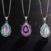 925 sterling silver natural crystal necklace pendant with real gemstone