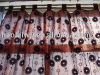 window flocked ready made faux silk curtain