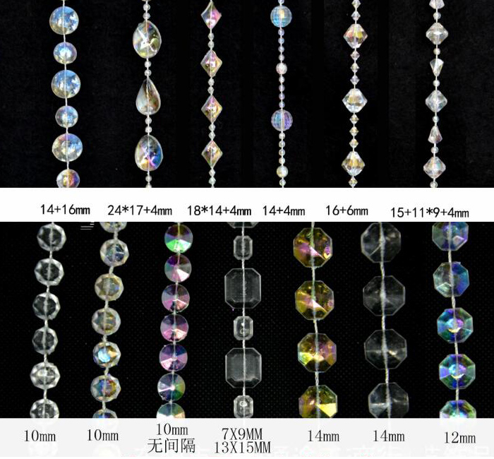 Factory wholesale transparent crystal beads trim for wedding/event/party decoration