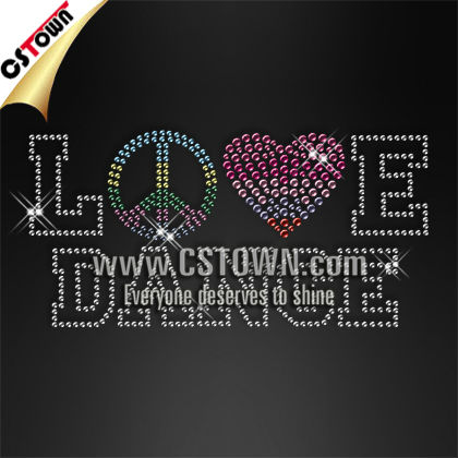 Peace love dance hotfix stud letters for t shirts heat press