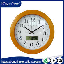 china solid wood LCD digita auto flip calendar wall clock