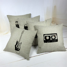 Nordic Almofadas Retro Cushions Linen Black And White Decorative Pillows Audiotape Motorcycle Guitar camera Cushion Covers
