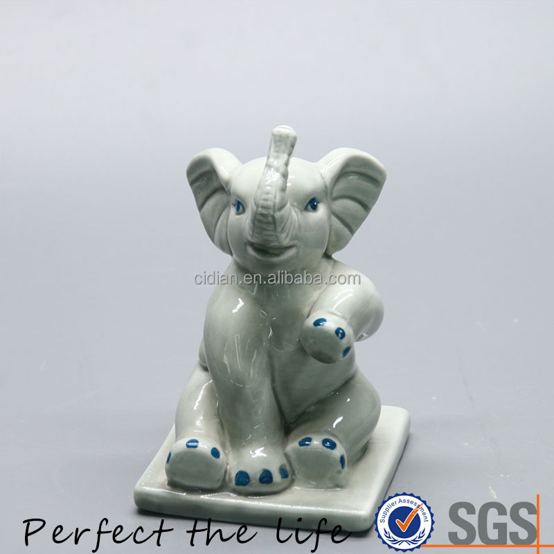 Ceramic Animal Sitting Elephant Figurine Craft