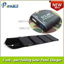 14W folding dual USB portable high quality solar panel waterproof for iphone and ipad