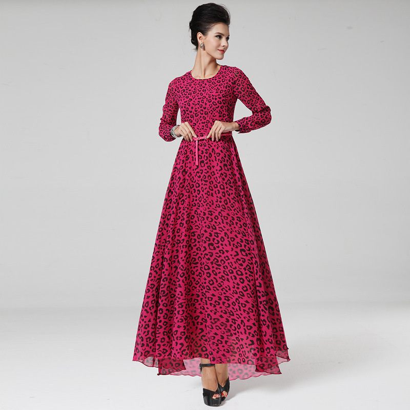Z91364A High quality women gown floral printed dress fashion design long sleeve dresses