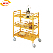 three tiers liquor trolley with ss titanium plated metal drink cart bar wine trolley B-009