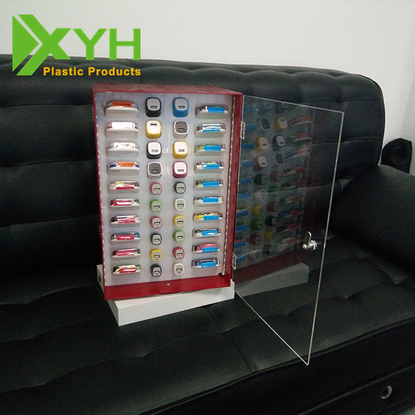 Customized Cell Phone Accessories Counter Display Racks Show Case Car Charger Display Stand With LED Light