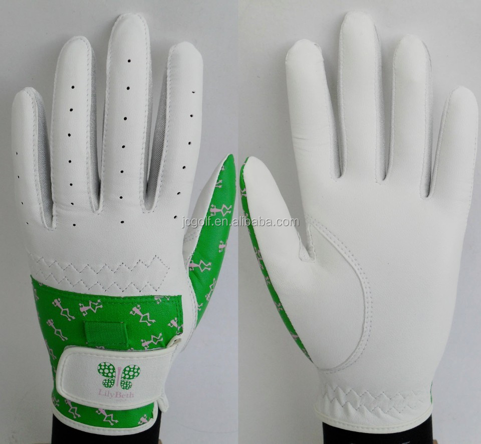 Customized frog and butterfly logo printed golf Glove