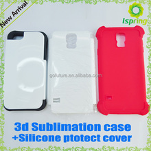 NEW ! Plastic composite material 3D sublimation cases + Silicone soft cover (multi colors) 2in1 ,3d sublimation cover case
