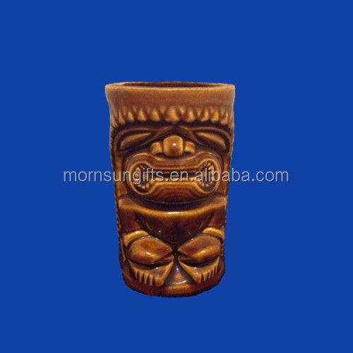 Brown Orchids Of Hawaii Ceramic Tiki Mug Cup Tumbler Glaze Glass