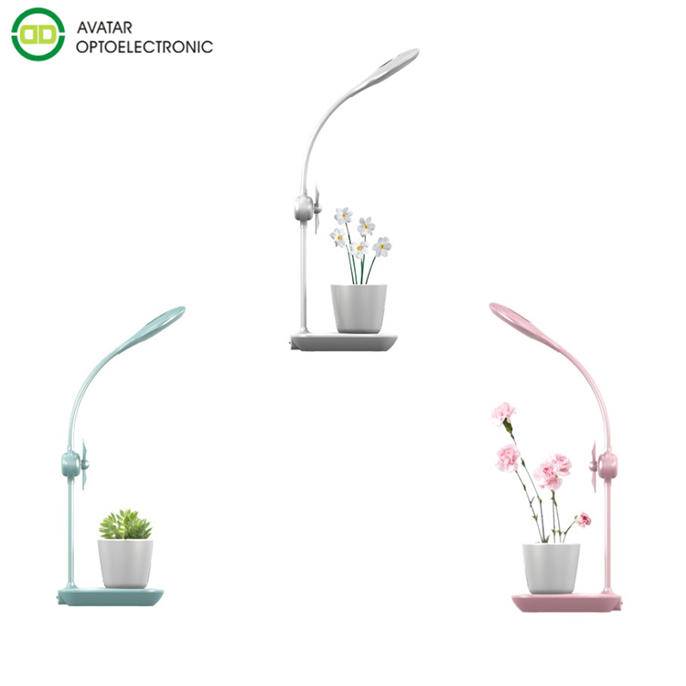 Avatar 5W USB Potted Plant Led Grow Lights and night reading lamp for indoor Table Desk Office with touch switch