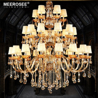 MEEROSEE Zhongshan Large Hotel Lobby Decorative Art Blown Glass Crystal Chandelier Pendant Lamp With Lampshade MD85864