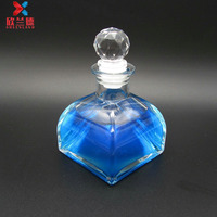 High quality 100ml tower shape glass bottle reed diffuser with decorate cork
