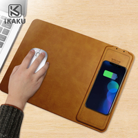 2018 private label Oem logo real 10W output pu leather wireless charging cellphone charge qi mouse pad with wireless charger