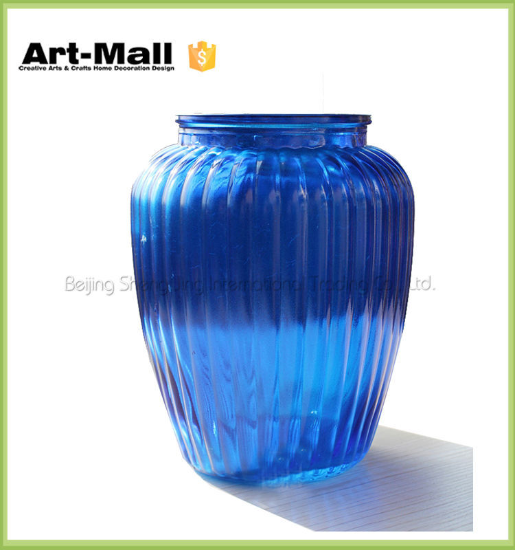 2016 new products high quality lead free flat round glass vase wholesale
