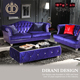 Italian design armchairs lounge European purple chesterfield sofa button tufted velvet deep purple foam sofa set