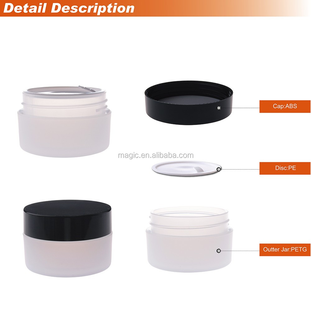 5g 15g 30g 50g 80g 100g 140g Transparent PETG cosmetic containers