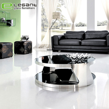 Elegant luxury stainless steel center table round glass large coffee table